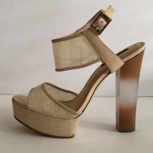 Rachel Zoe Lexi Raffia Platform Heels sz 9